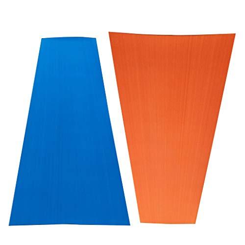 HomeDecTime 2pcs Boot Teak Deck Pad Bodenbelag 5mm Anti-Rutsch Belag Bodenschutzmatten Unterlegmatte - Blau + Orange, 220 x 65 x 0,5 cm