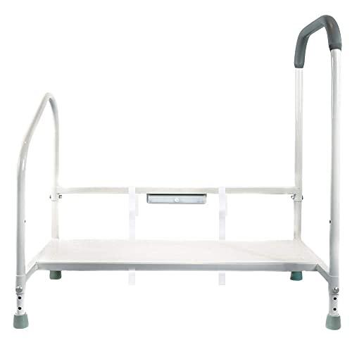Step2Bed Bettgitter für ältere Menschen mit verstellbarer Höhe Betttritthocker & LED-Licht zur Sturzverhinderung – Tragbarer medizinischer Tritthocker kommt mit Handicap-Haltegriffen für einfaches Ein- und Aussteigen aus dem Bett
