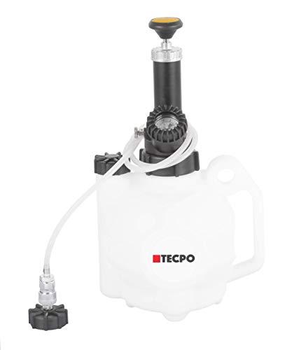 TECPO 300120 Bremsen Entlüftungsgerät 4 Liter + 1 Liter Auffangflasche Bremsenentlüfter Set Bremsflüssigkeit Wechsel mit E20 Adapter Euro Schnellkupplung