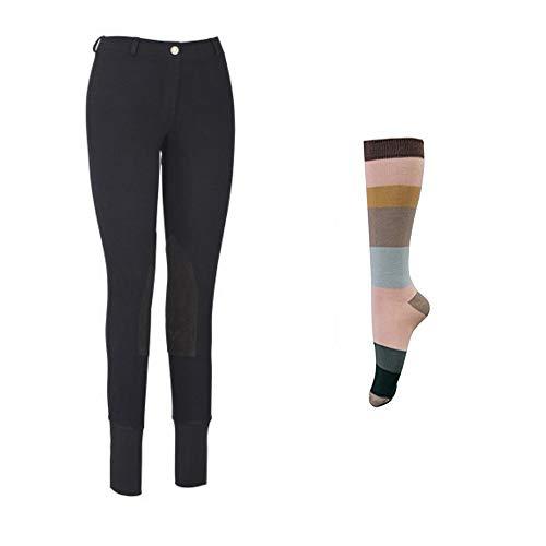 TuffRider - Pantalones de arranque para mujer con calcetines de rayas surtidos gratis | Parche de rodilla | Pantalones de equitación | Ropa ecuestre - Negro - 28