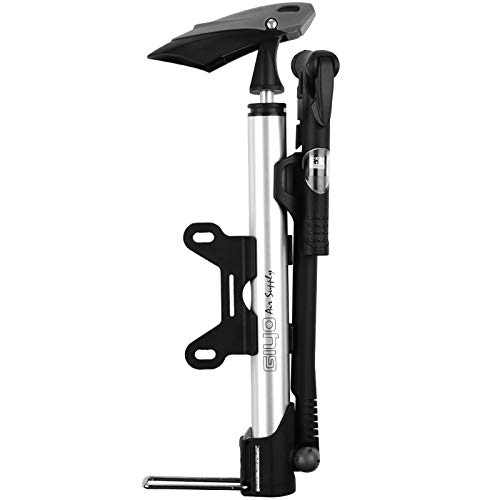 Floor Pump with Gauage, Diyife Mini Portable Bike Pump [140 PSI] Bicycle Pump Aluminum Alloy Bicycle Air Hand Pump Compatible with Needle, Frame Mount for Road, Mountain & BMX Fits Presta & Schrader