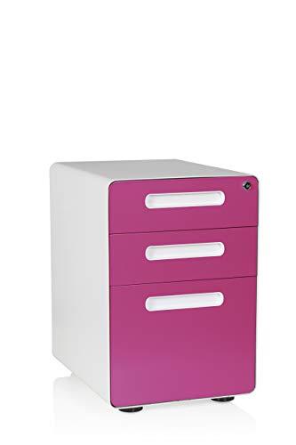 hjh OFFICE 743005 Büro Rollcontainer Color Plus Stahl Weiß/Pink Schubladenschrank mit Rollen, Hängeregister, abschließbar