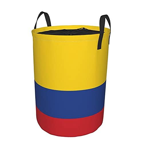 """Cesta de almacenamiento, elementos de dimensiones precisas del vector de la bandera de Colombia, cesto de lavandería grande plegable con asas 19""""x14"""""""