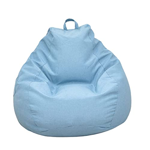 Soft Bean Bags Chairs For Kids, Teens, Adults - Fine Linenfabric Bag Chair - Dorm Room Comfy For Reading Game Meditating,Blue,Large