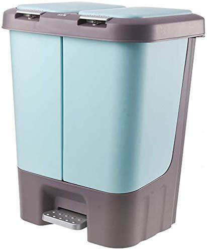 Haojie Fußbetriebener Küchenabfalleimer zum Sortieren von Abfällen für Haushalt, Küche, Abfälle, Trocken- und Nasstrennung, Mülleimer mit Deckel, A