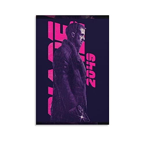 Blade Runner 2049 - Póster de la película de arte vintage en lienzo para colgar fotos y pósteres para decoración de pared (60 x 90 cm)