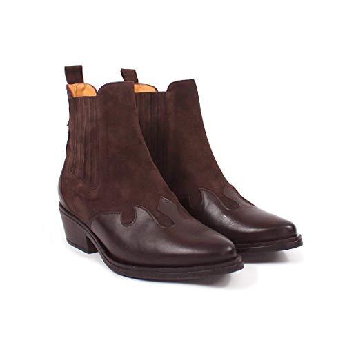 CANADA - Bruine Chelsea Fashion Cowboy Enkel Laarsjes met Elastiek -Gemaakt in Spanje -Hoogte 14 cm -brede hak 4 cm - Nappa en Donkerbruin Suède - Made in Spain - Bruin 39 EU