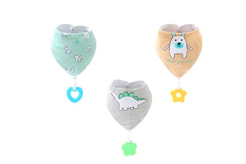 Baby Bandana Drool Bibs Teething Toys Made with 100% Organic Cotton, Super Absorbent and Soft Unisex (Vuminbox) (3 pack1)