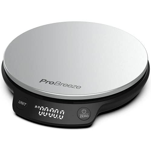 Pro Breeze Básculas de Cocina Digitales - Básculas digitales de acero inoxidable, de alta precisión para cocinar en g / ml / fl oz / lb oz