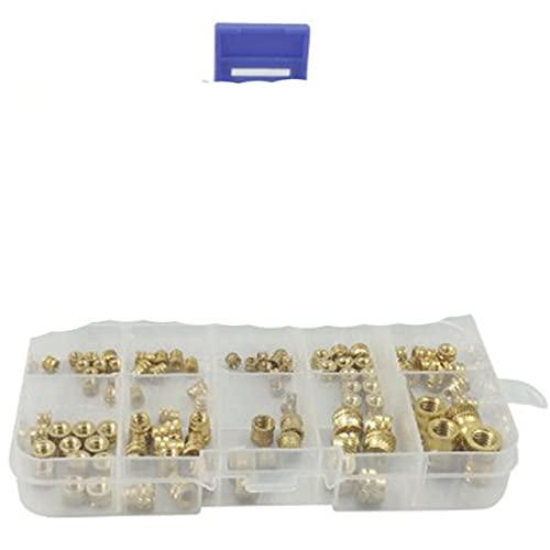 Calor de latón roscado, surtido de insertos de tornillo de ajuste térmico roscados de latón métrico para impresión 3D (94 piezas) - Oro