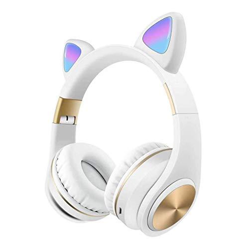 Komopesu Auriculares inalámbricos plegables con micrófono y control de volumen, compatibles universales para teléfonos inteligentes, portátiles, PC, TV, color blanco