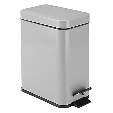 mDesign 5 Liter Round Small Steel Step Trash Can Wastebasket, Garbage Container Bin for Bathroom, Powder Room, Bedroom, Kitchen, Craft Room, Office – Removable Liner Bucket, Matte Gray