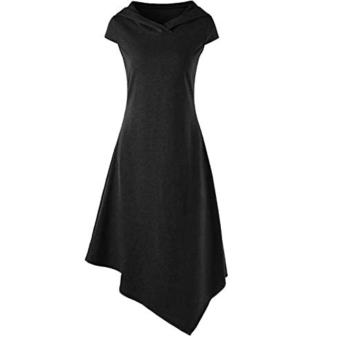 Briskorry Vestido gtico medieval para mujer, talla grande, vintage, largo hasta la rodilla, sexy, ajustado, para fiestas, aos 50, vestido de cctel atado con cintura y capucha, Negro , XL