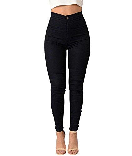 ISSHE Pantalones Cintura Alta Skinny Mujer Pantalon Slim Tiro Alto Mujer Jeggings Leggins Push Up Señora Leggings Deporte Pantalones Talle Alto Deportivos Elasticos Mujer Tallas Grandes Negro S
