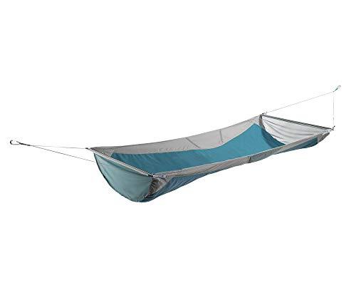 ENO Skyloft Spreader Bar Hammock Grey Seafoam 140 Denier Rip Stop Nylon Flat And Recline Modes Stuff Sack Pillow Packs Light Easy Set Up 2 Stretch Cargo Pockets Weight 1.32 Kg Capacity 113 Kg