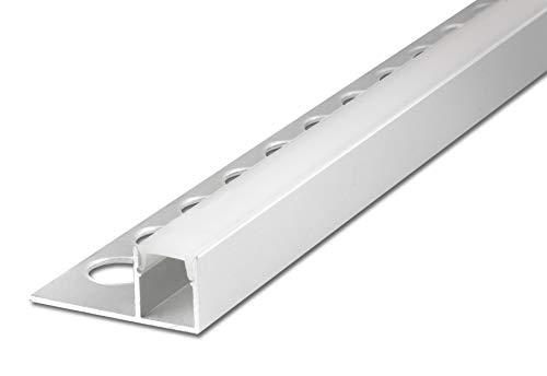 2,5 m FUCHS LED Fliesenschiene 12 mm Quadratprofil oben leuchtend LED Leiste für LED Streifen, Aluminium eloxiert Silber rostfrei inkl. Abdeckung (milchig weiss) zur gleichmäßigen Lichtstreuung