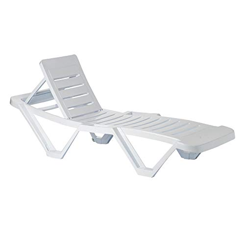 Resol 2 Piece Master Plastic Garden Sun Lounger Bed Set - Adjustable Reclining Outdoor Furniture - White