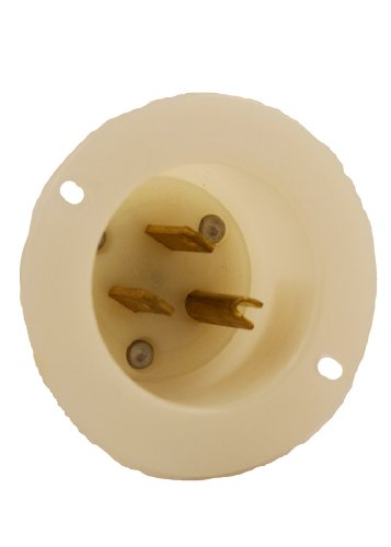 Leviton 5278-C 15 Amp, 125 Volt, Flanged Inlet Receptacle, Straight Blade, Industrial Grade, Grounding, White