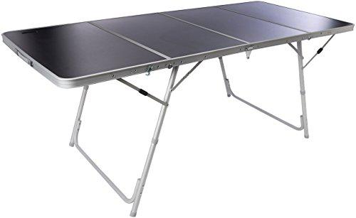 BERTONI Fold 4 Mesa para Acampada y mercadillos, Resistente y Plegable en 4 (Maletín), Marrón/Aluminio, Tamaño Único