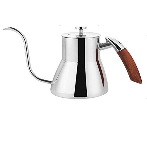 Flashing Cafetera de goteo de acero inoxidable con cuello de cisne de inducción y cuello de cisne con mango de madera (color: plata)