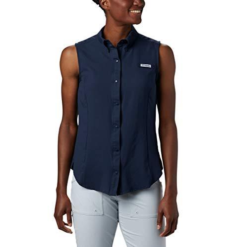 Columbia Women's Standard Tamiami Sleeveless Shirt, Collegiate Navy, Medium