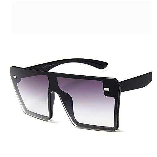 XHJLNNY XINHEJULN Gafas de Sol cuadradas de Gran tamaño, Moda Plana para Mujer, Lentes Transparentes Rojos y Negros, Visera Solar para Hombres Exquisito y aplicable (Color : C7)