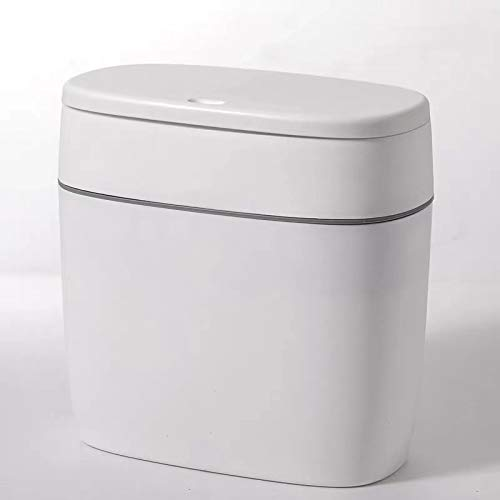 CY craft Plastic Trash Can with Lid,10L/2.6 Gallon Garbage Can,Modern Grey Waste Basket Thin Trash Cans for Bathroom,Living Room,Office,Kitchen and Narrow Spaces