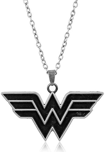 Joyería de cómics caliente superhéroe Wonder Women collar superhéroe Supergirl colgante collar mujeres encanto Cosplay regalo-chapado en plata antigua