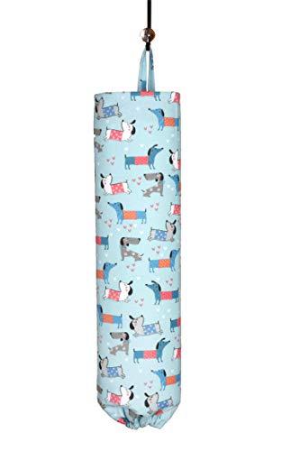 Plastiktütenhalter | Einkaufstaschen-Organizer | Tragetasche | Aufbewahrung | Spender – Schlaufe zum Aufhängen an Wand oder Schrank handgefertigt in den USA – entzückende Dackel (Weiner) Hunde – groß