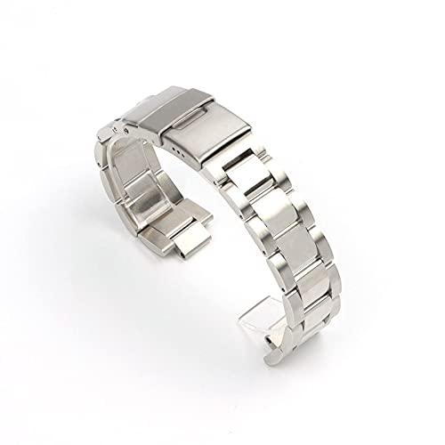 JACHJIN Correa de Reloj, Reloj de Acero Inoxidable de Acero Inoxidable de Extremo Curvo Correa de Reloj de Mariposa Pulsera de muñeca Hebilla 22mm (Color : Silver, Size : 22mm)