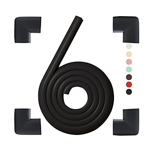 Foam Corner Guards Covers&Foam Edge Safety Bumpers Kit,Baby Proofing,Kids and Children Head Protector,Suitable for Metal Frame Desk Counter Sharp Corners (Black(4 Corner&6.5ft Safety Bumpers))