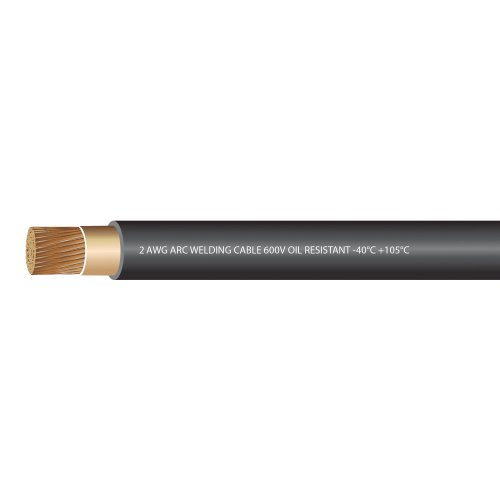 EWCS 2 Gauge Premium Extra Flexible Welding Cable 600 Volt - Black 20 Feet - Made in The USA