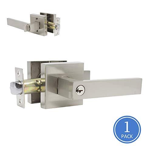 Satin Nickel Finish Square Rosette Entry Door Handles, Heavy Duty Lock with Keys, Bedroom Entrance Door Locks One Key Way Leverset, Front/Exterior Door Levers, 1 Pack