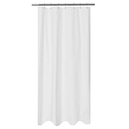 Mrs Awesome Embossed Microfiber Fabric Stall Shower Curtain Liner 36 x 72 inches,Washable and Water Repellent, White