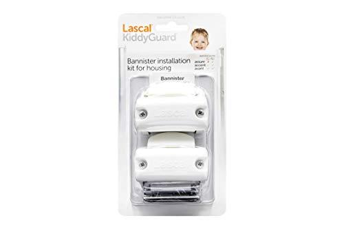Lascal KiddyGuard Avant/Accent/Assure Support barrière de sécurité, Support escaliers avec rampes arrondies ou angulaires jusqu'à ø50 mm, Set de 2 fixations, blanc