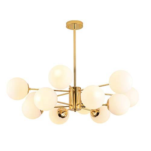 10 Cabezas Oro Sputnik Lámpara Colgante Modernas Mate Esfera De Cristal Lámpara De Araña Ajustable Lámpara Colgante Vintage Lámpara De Techo Para La Sala De Estar-A 10-luces