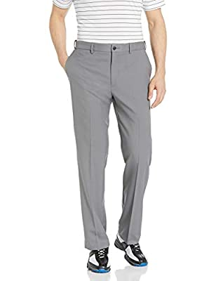 PGA TOUR Men's Flat Front Golf Pant with Expandable Waistband, Quiet Shade, 40W x 32L
