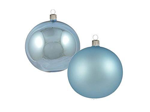 Confezione da 8 Pezzi Sfere in Vetro 70mm Lucido/Opaco Color Celeste 8pz   LAVORATE A Mano   Celeste   Palle di Natale   Decorazioni Natalizie   Decorazioni Albero di Natale - Diametro: 7cm