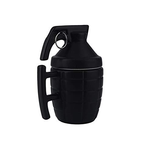 Grenade Creative Coffee Cup met deksel, antislip, druppelbestendig, lekbestendig, stevig, duurzaam, geschikt voor een verscheidenheid aan cafés, kantoren, thuiskeukens, zwart