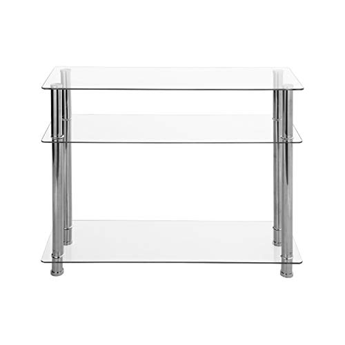 AllRight Glass Table Metal Frame Console Table Clear Glass Chrome Legs 3 Tier Modern Hallway Table Modern Furniture