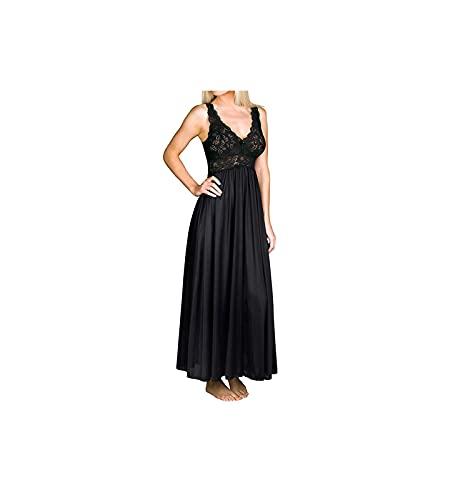 Shadowline Classy Nightgowns for Women Elegant Sleepwear, Black, Medium