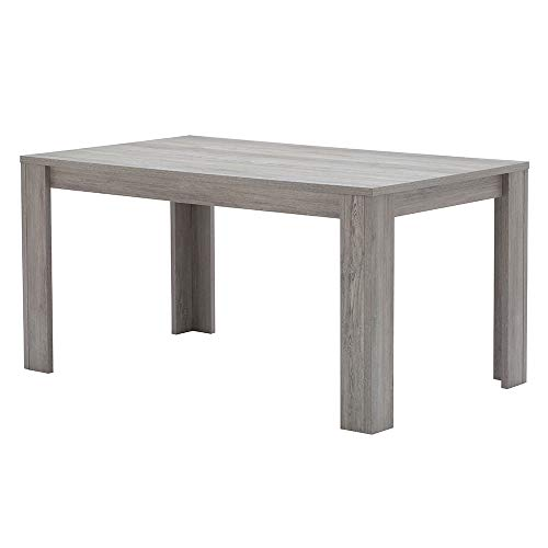 GIA Oak Gray Rectangular Dining Table - Chunky Block Style Kitchen Table or Standing Desk