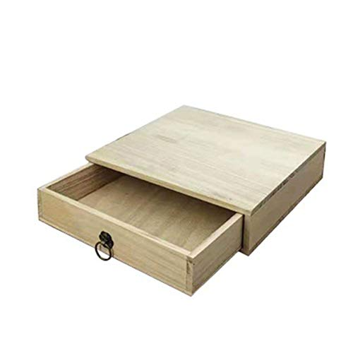 Yingm Tenedor de Madera del cajón del Almacenamiento del Almacenamiento de la Caja de té de Madera Caja de Té Ligera (Color : Khaki, Size : 25x25x5cm)