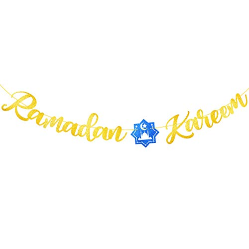Ramadan Kareem Bunting Banner Letter Banner Paper Blue Star Flag with Golden Ribbon DIY Garlands Muslim Boys Girls Unisex Ramadan Party Supplies Decorations Living Room Home Family Decor