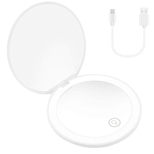 LED Lighted Travel Makeup Mirror,10X Magnification,Portable 3.5 inch Folding Mirror,2.8 oz,Portable Folding Mirror for Bag (White)
