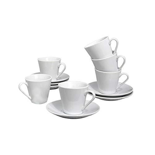 Home Line Juego de Café 50 ml, 24 Platos y Tazas de Cerámica Blanca, Vajilla Elegante