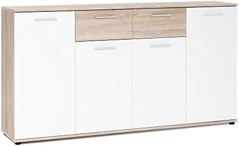 Newfurn Sideboard Kommode Natur Anrichte Highboard Mehrzweckschrank II 160x85x 35 cm (BxHxT) II [Esra.Nine] in Sonoma Eiche Sonoma Eiche Wei Wohnzimmer Schlafzimmer Esszimmer