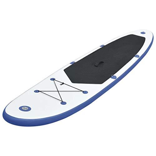 vidaXL Juego de Tabla de Paddle Surf Hinchable Azul/Blanco Deportes Acuáticos