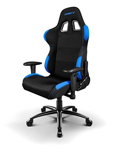 Drift DR100BL - Silla Gaming profesional, tela, reposabrazos 2D, piston clase 4, asiento basculante, altura regulable, respaldo reclinable, cojines lumbar y cervical, color negro/azul