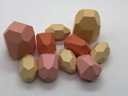Tumi ISHI Balance-Steine aus Holz, Bausteine, Montessoren, Entwicklung Motorik, Lernturm, Heimdekoration. 10 Stück